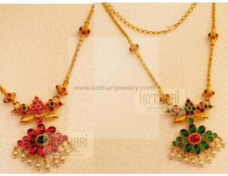 Gold Necklace Pearl Gundu Mala Necklace Lakshmi Coin