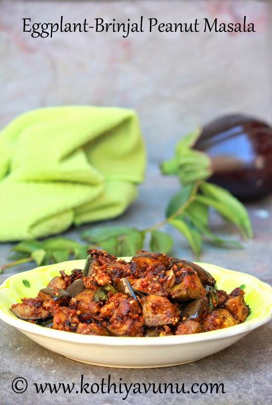Eggplant-Brinjal Peanut Masala-Vazhuthananga Masala  kothiyavunu.com