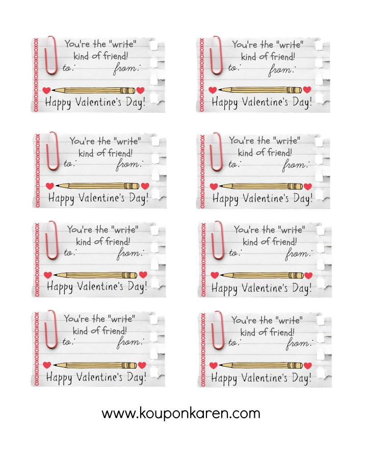 DIY Valentine Classroom Gift \u2013 FREE Valentine \u201cWrite\u201d Kind of Friend - diy printable coupons