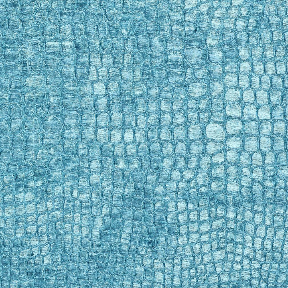 Metallic Animal Print Wallpaper Teal Shiny Reptile Skin Look Velvet Upholstery Fabric