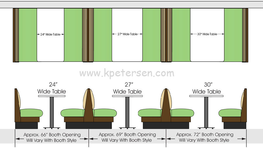 Upholstered Restaurant Booth Layouts and Typical Booth Dimensions - restaurant table layout templates