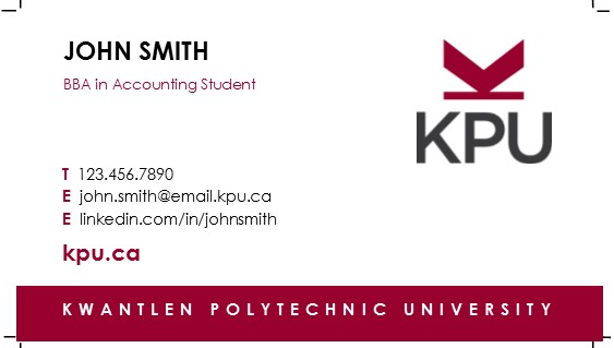 How to Order Student Business Cards KPUca - Kwantlen - business card sample