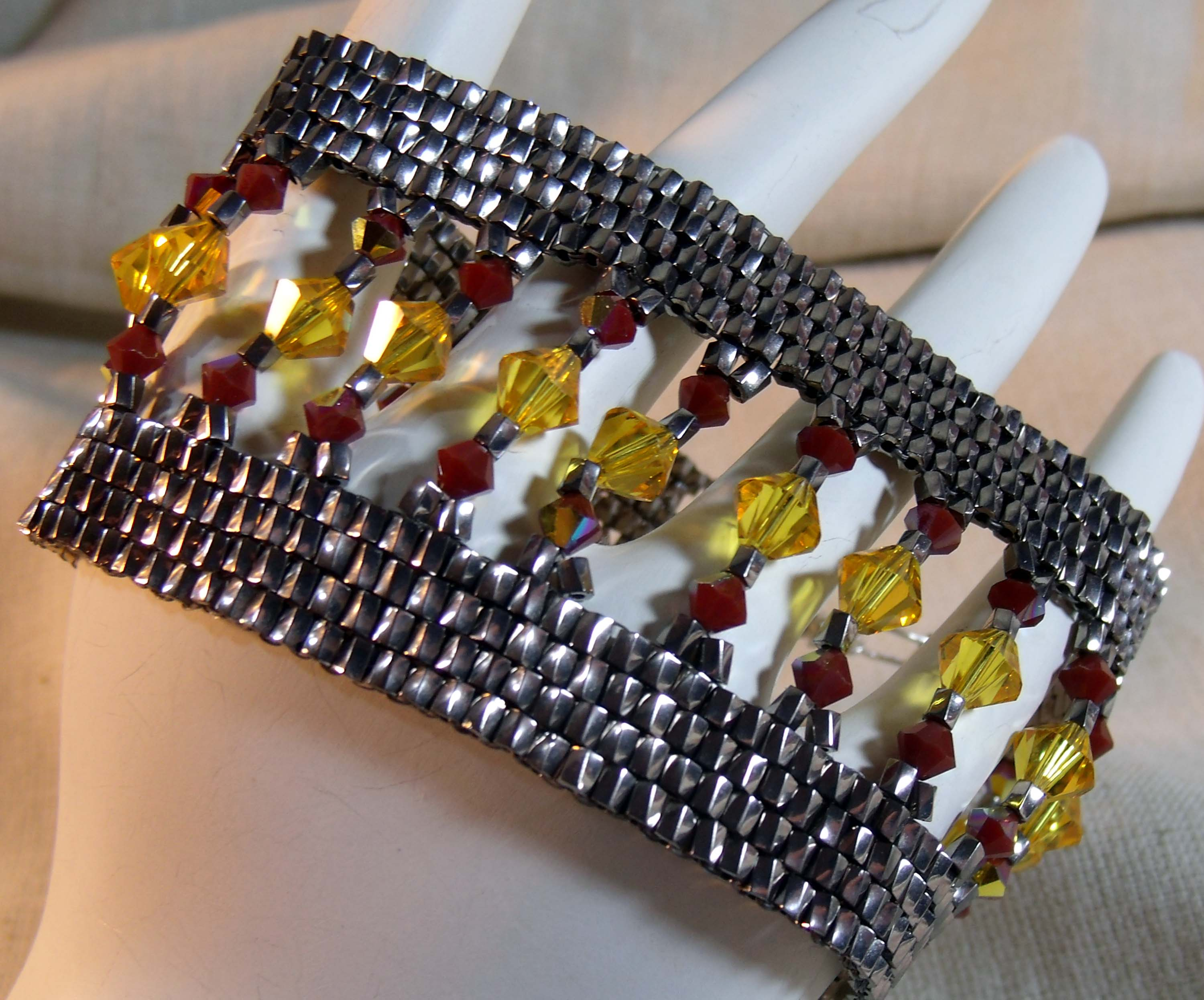 Yellow and Red Beadwoven Bracelet for Creations Color Challenge