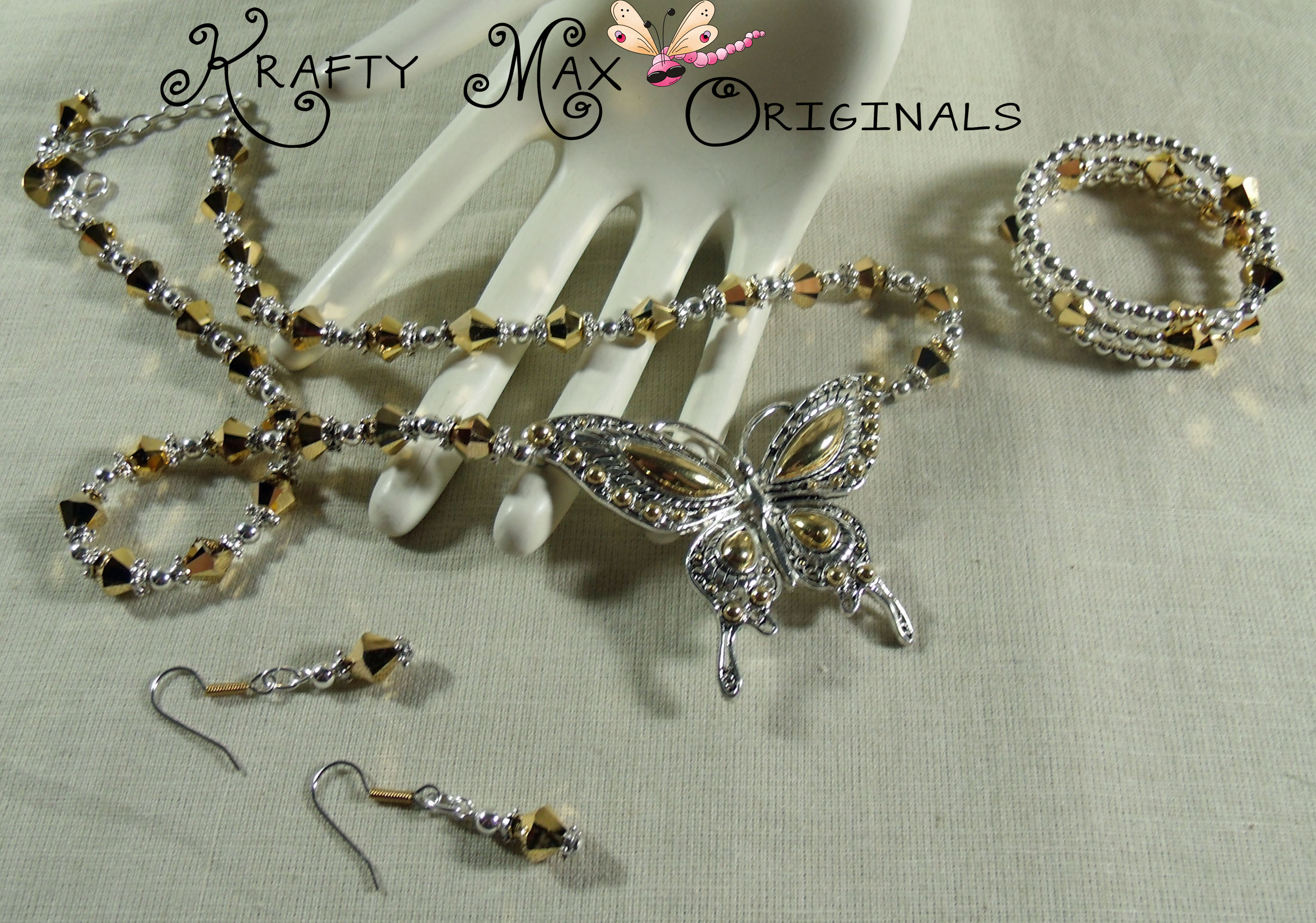 Swarovski Crystal Gold / Aurum and Silver Plated Butterfly Necklace Set