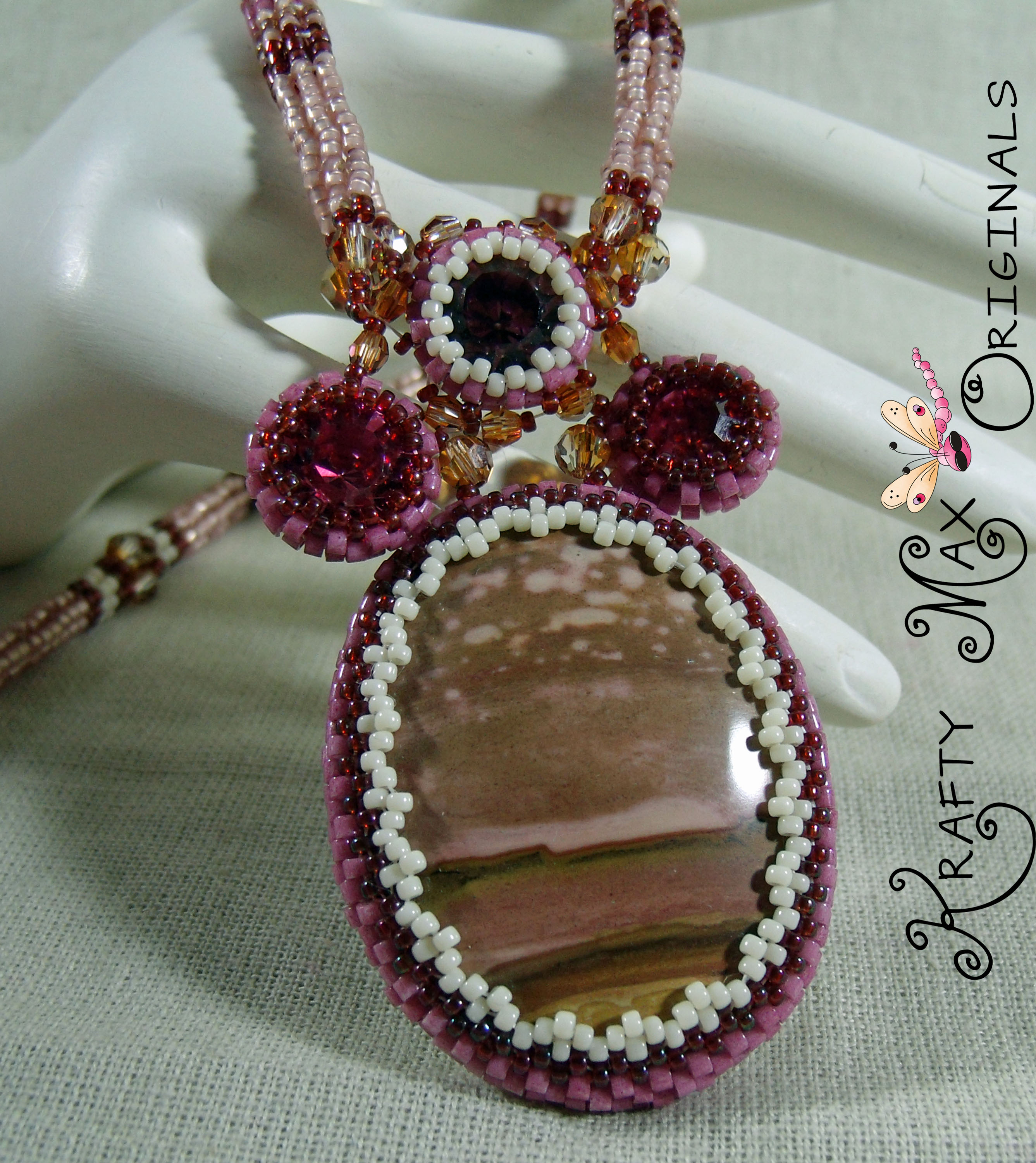 The Beauty of Mauve Sunset Krafty Max Original Beadwoven Necklace Set