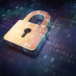 Security concept: Golden closed padlock on digital background, 3d render
