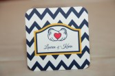 Custom Coasters with Chevron Design, Disney Wedding
