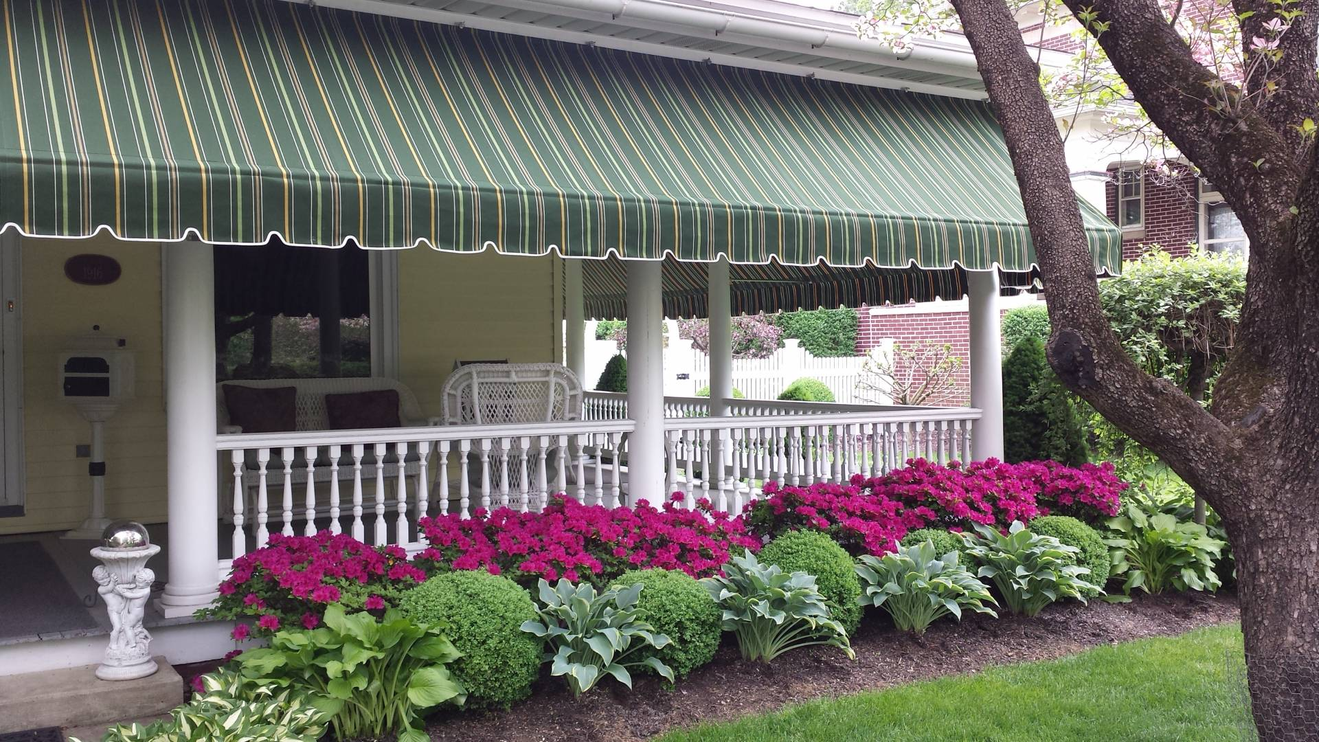 Beautiful striped sunbrella porch awning lititz pa