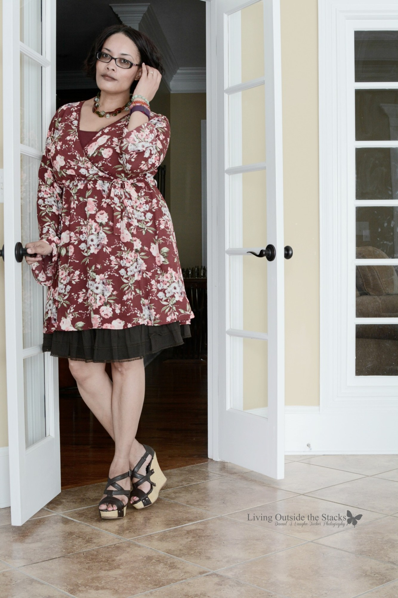 Fab 40s Bohemian Theme Floral Dress Brown Skirt and Brown Wedges {living outside the stacks}