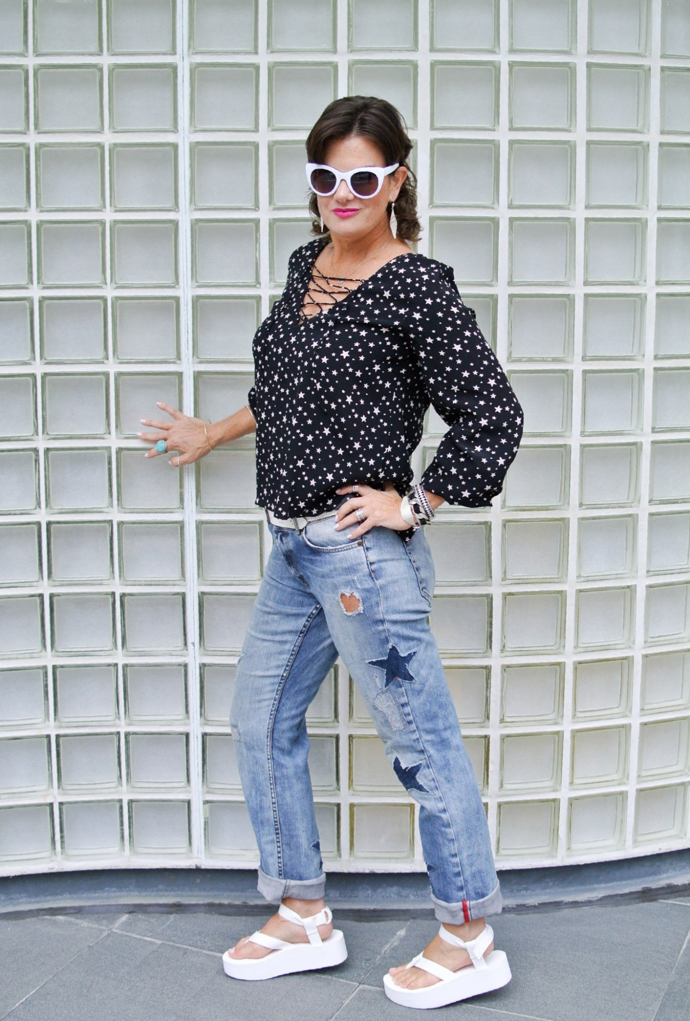 DIY Star Patched Jeans 1