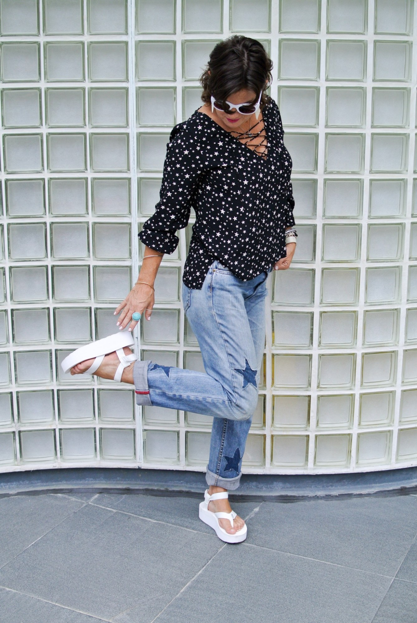 DIY Star Patched Jeans 8