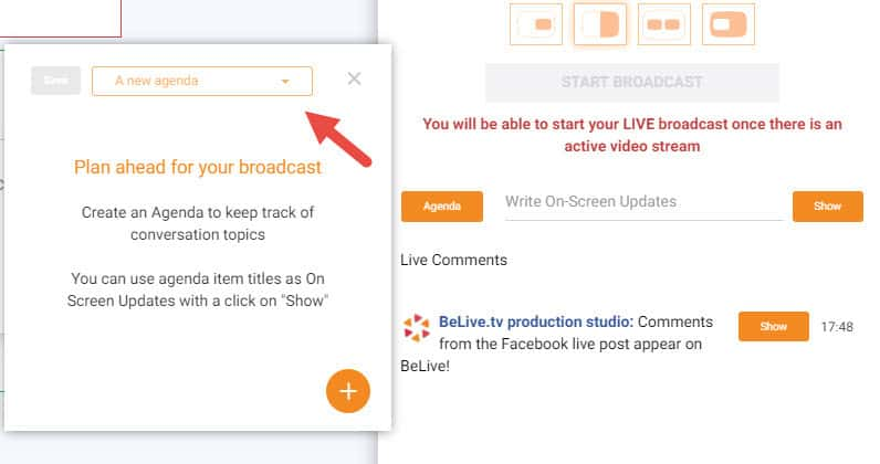 How to use the BeLivetv Agenda for your Facebook live stream - how to create a agenda