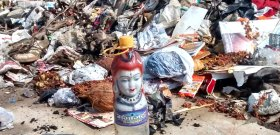 Lord shiva in garbage dump on halasuru lake