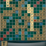 """Superloo"" was the first word he played and got an extra +50! I can't believe ""aitches"" is in the dictionary."