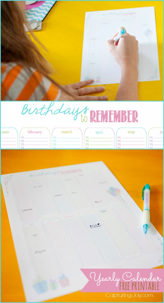 Birthdays to Remember~Yearly Calendar {free printable}