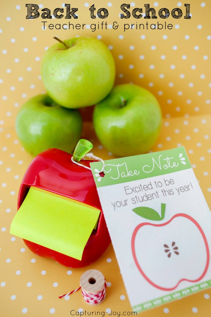 Back to School Teacher Gift Apple Post It Note + Printable
