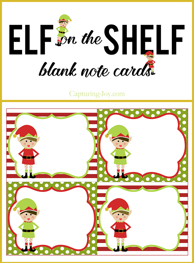 Elf on a Shelf Blank Note Cards - Capturing Joy with Kristen Duke