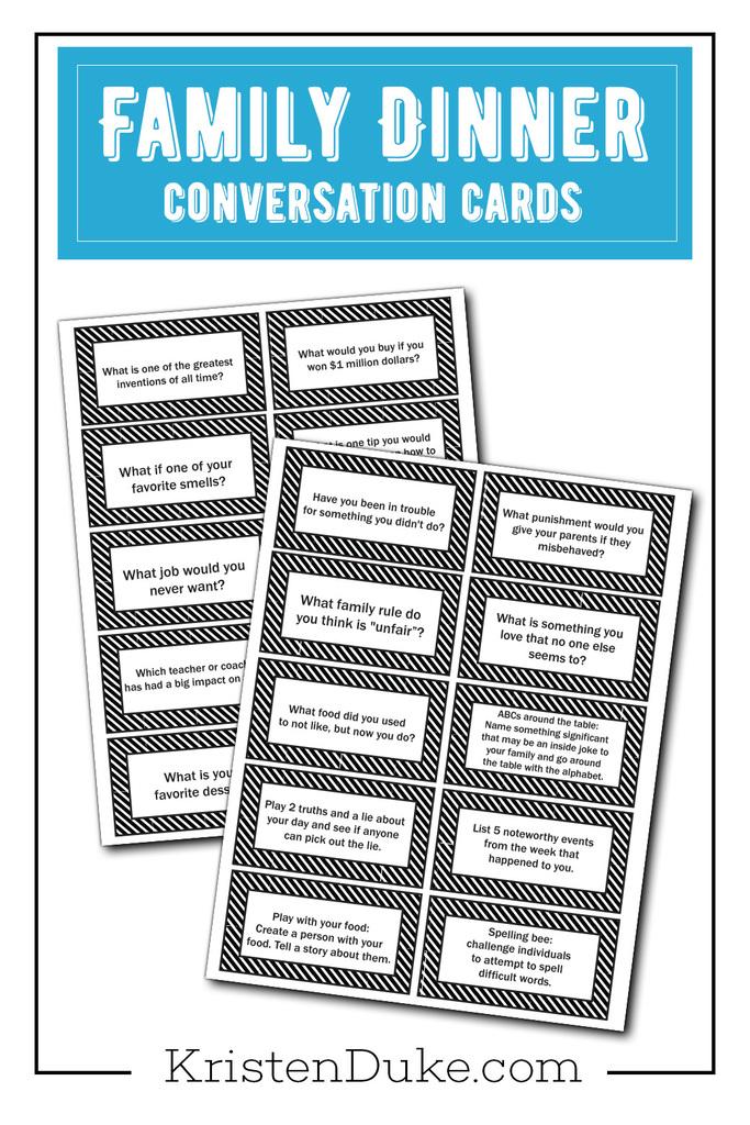 Family Conversation Cards {Printable} Kristen Duke
