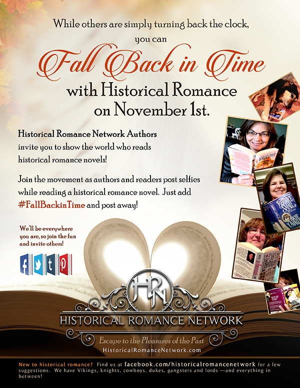 Flyer for Historical Romance Netowork's #FallBackInTime Event on Nov 1st