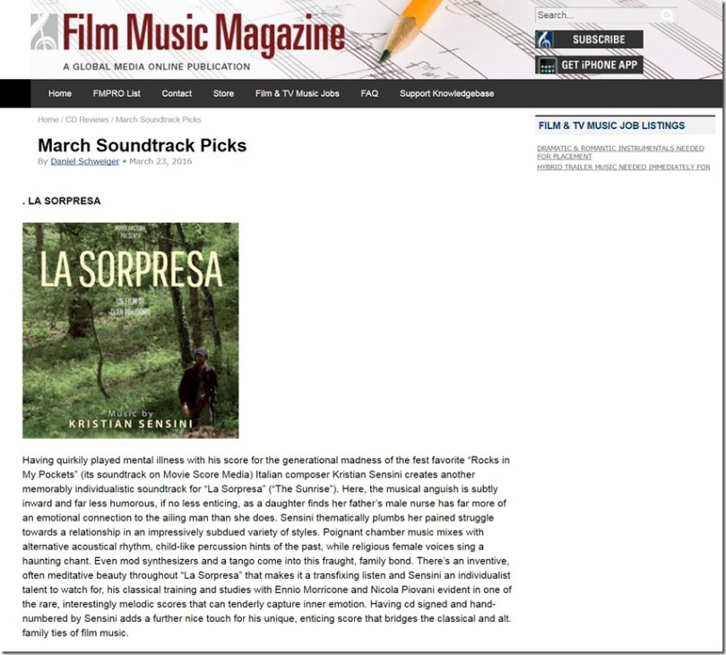 Film Music Magazine - La Sorpresa