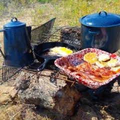 Breakfast at Enola's Camp as Fall Begins
