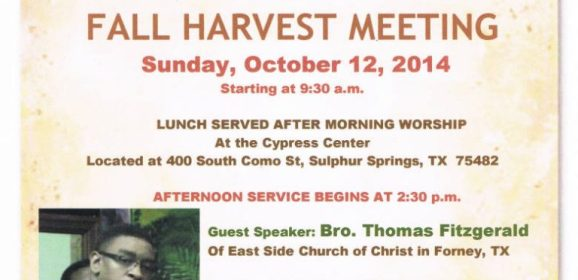 "The Church of Christ ""Fall Harvest Meeting"""
