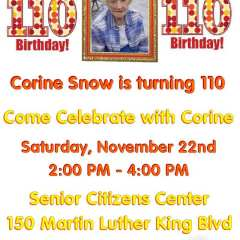 Corine Snow, is Going to be 110 years old on December 1st