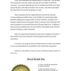 Governor Issues Rural Health Day Proclamation
