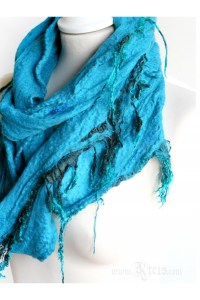 Turquoise Merino Wool Infinity Scarf with Silk Fringes ...
