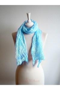 Pastel silk scarf shawl in teal blue