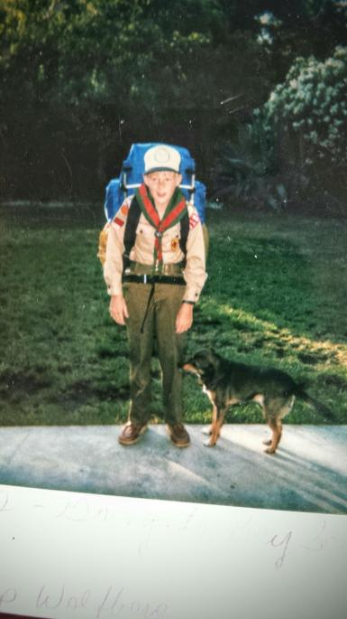 Oscar and my brother, just before he left for Boy Scouts.