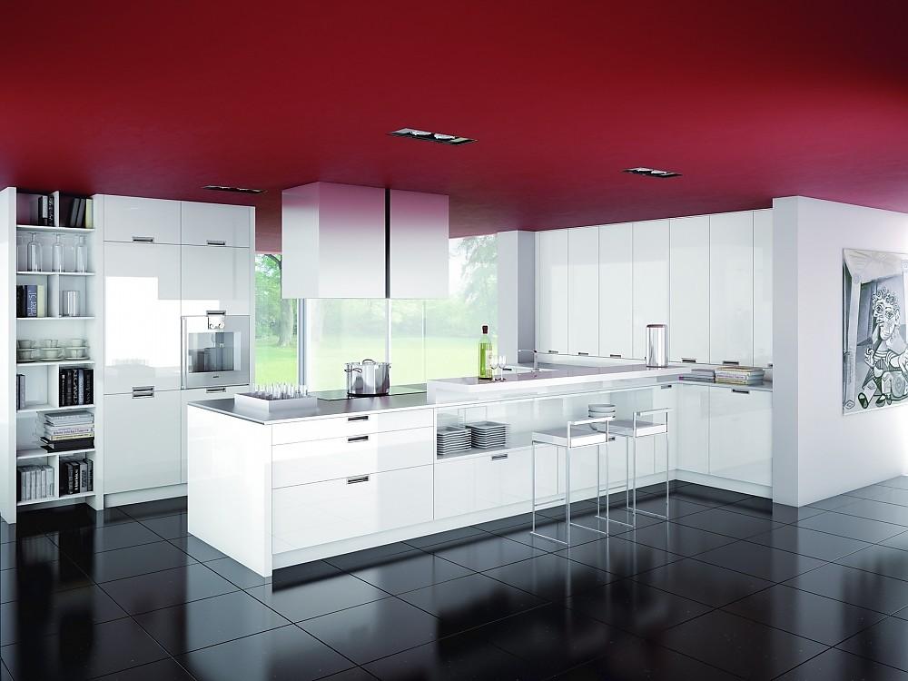 U-Küche weiß kombiniert mit dunklem Holz - moderne kuchen weiss holz