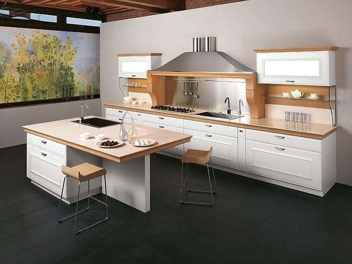 Moderne Landhausküche in Weiß und Beton-Optik - moderne kuchen weiss holz
