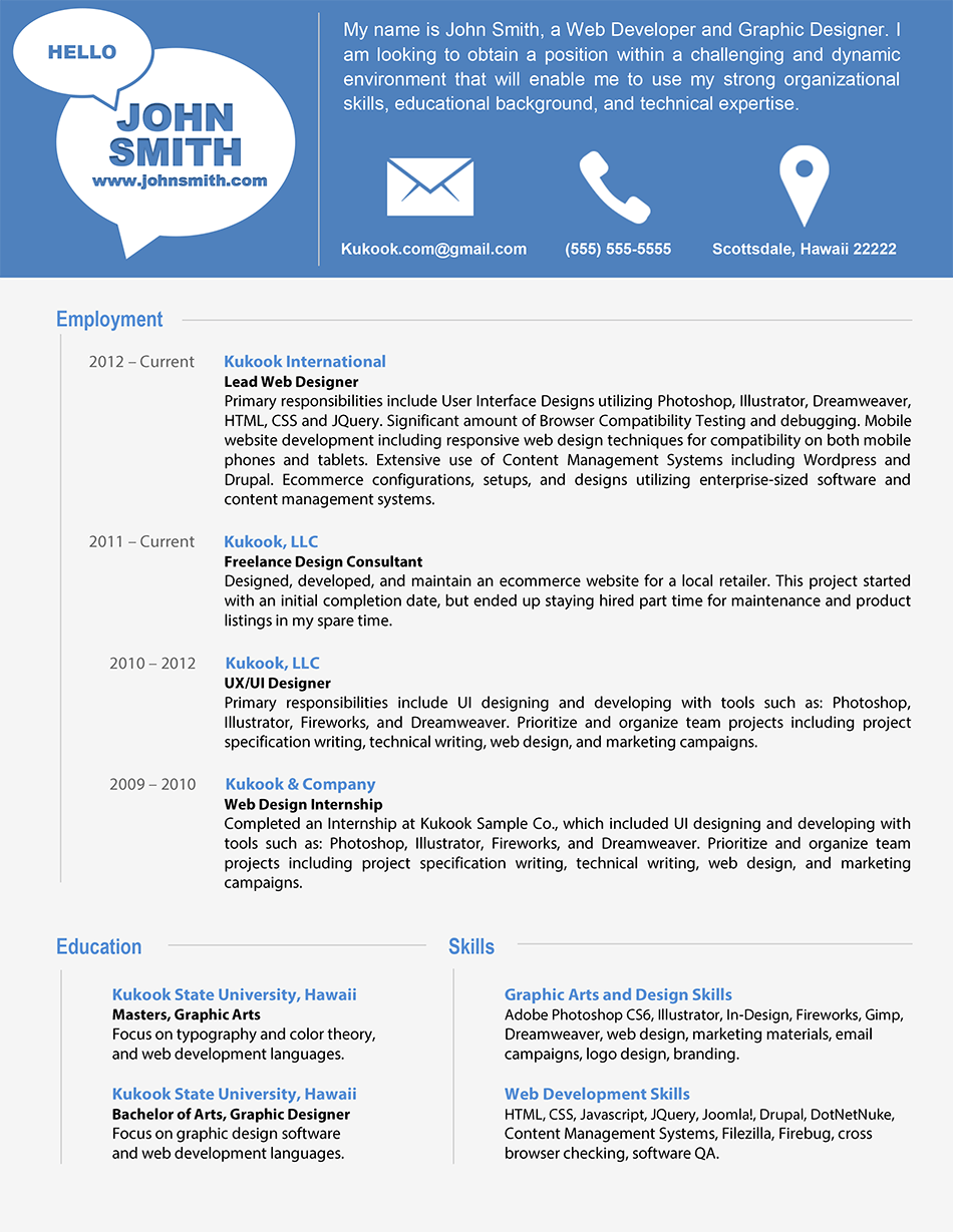 contemporary resume format 05052017