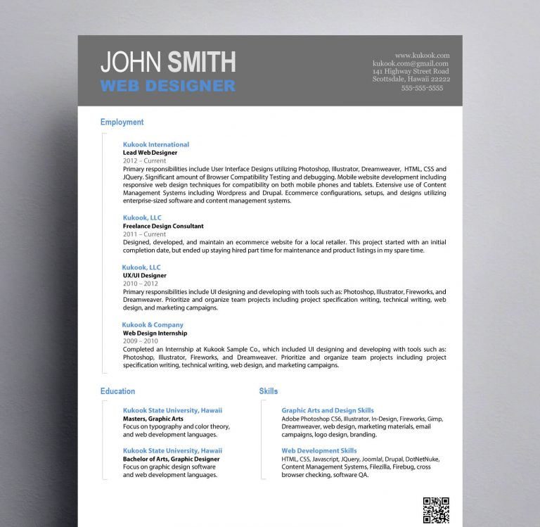 Simple Graphic Design Resume  Kukook - Simple Resume Design