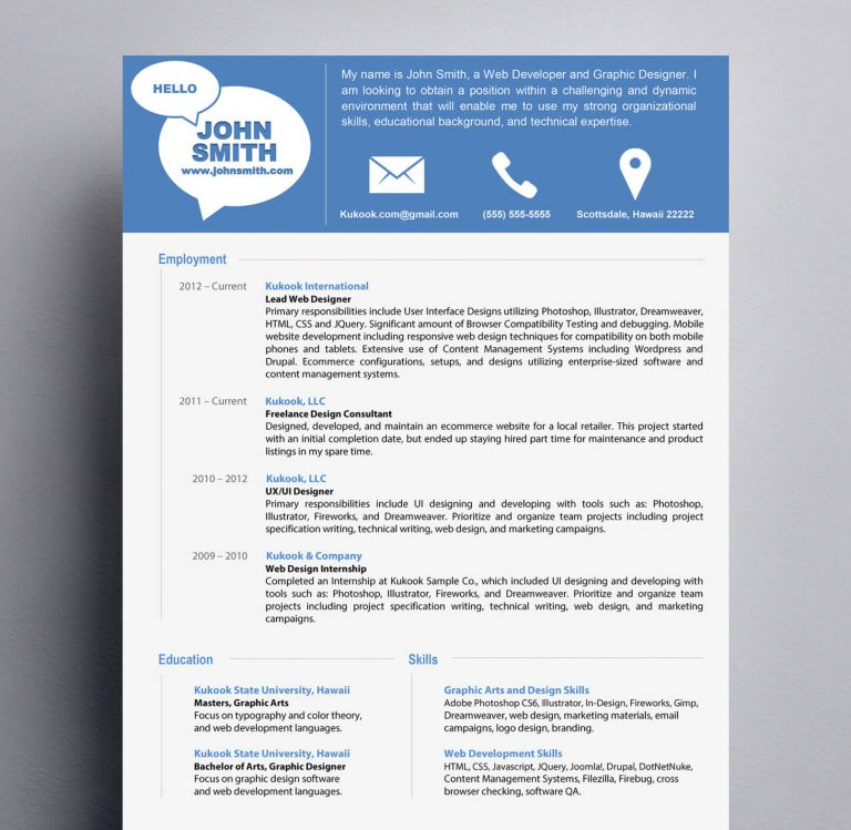 Simple and Modern Resume Template  Kukook - Modern Resume Templates