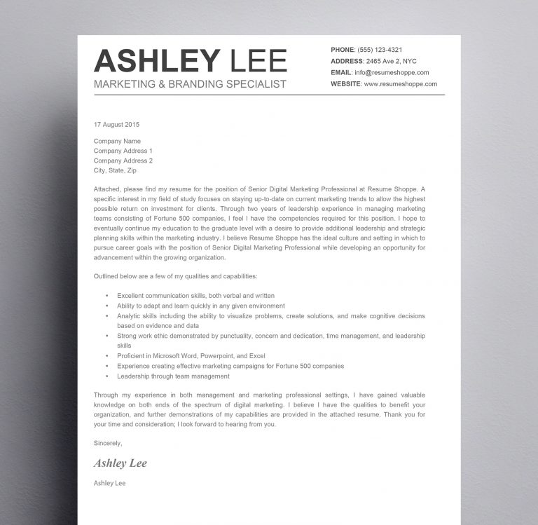 The Ashley Lee Cover Letter  Kukook