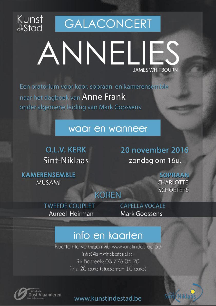Galaconcert Annelies, een oratorium voor koor, sopraan en kamerensemble naar het dagboek van Anne Frank