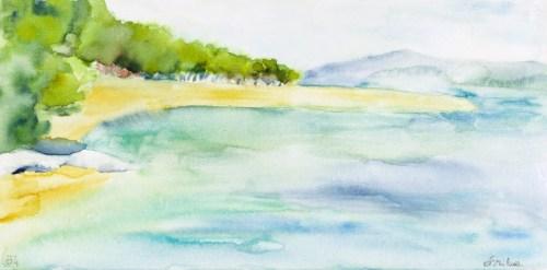Double Bol On Brac Island Paradise Beach Watercolor On Gallery Erika Marija Kurelac Watercolor On Canvas Diy Watercolor On Canvas Tips