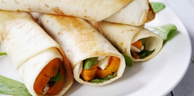 Veggie Flautas with Sweet Potatoes and Spinach