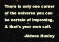 There is only one corner of the universe you can be certain of improving and that's your own self. - Aldous Huxley, inspirational quote on KyleMcMahon.Me