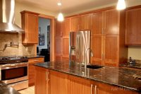 Natural cherry cabinets in kitchen, island, pantry wall ...