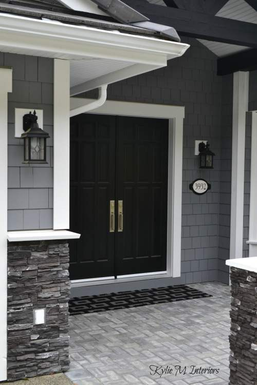 home with chelsea gray painted shakes black painted double front door. Black Bedroom Furniture Sets. Home Design Ideas