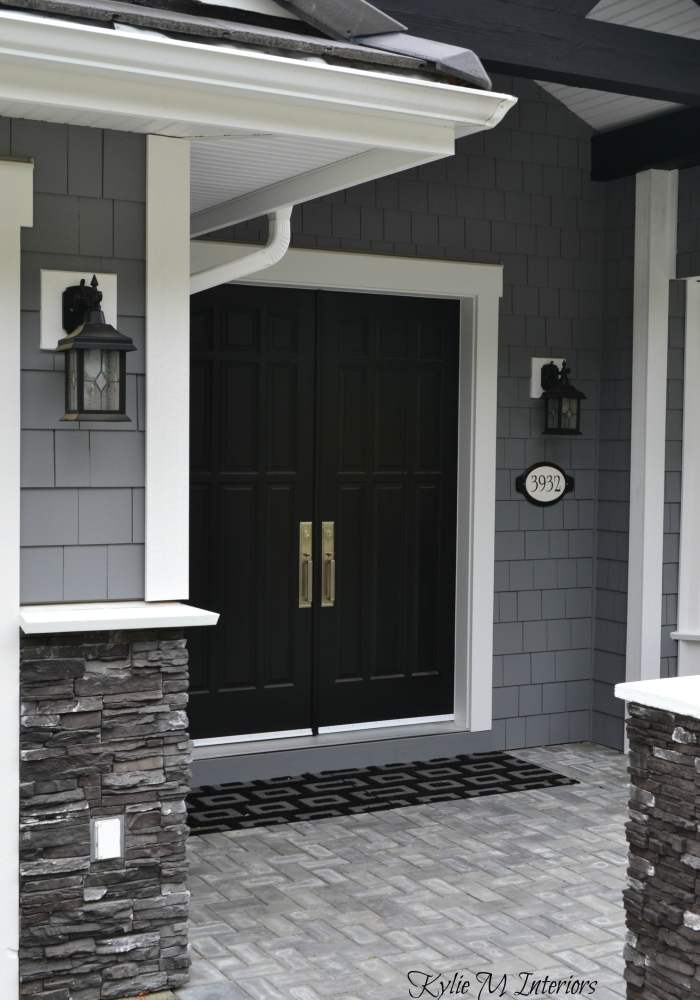home with chelsea gray painted shakes black painted double front door