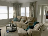 Sherwin Williams Repose Gray in living room with beige