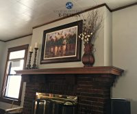 Best paint color for dark wood trim, brick fireplace ...