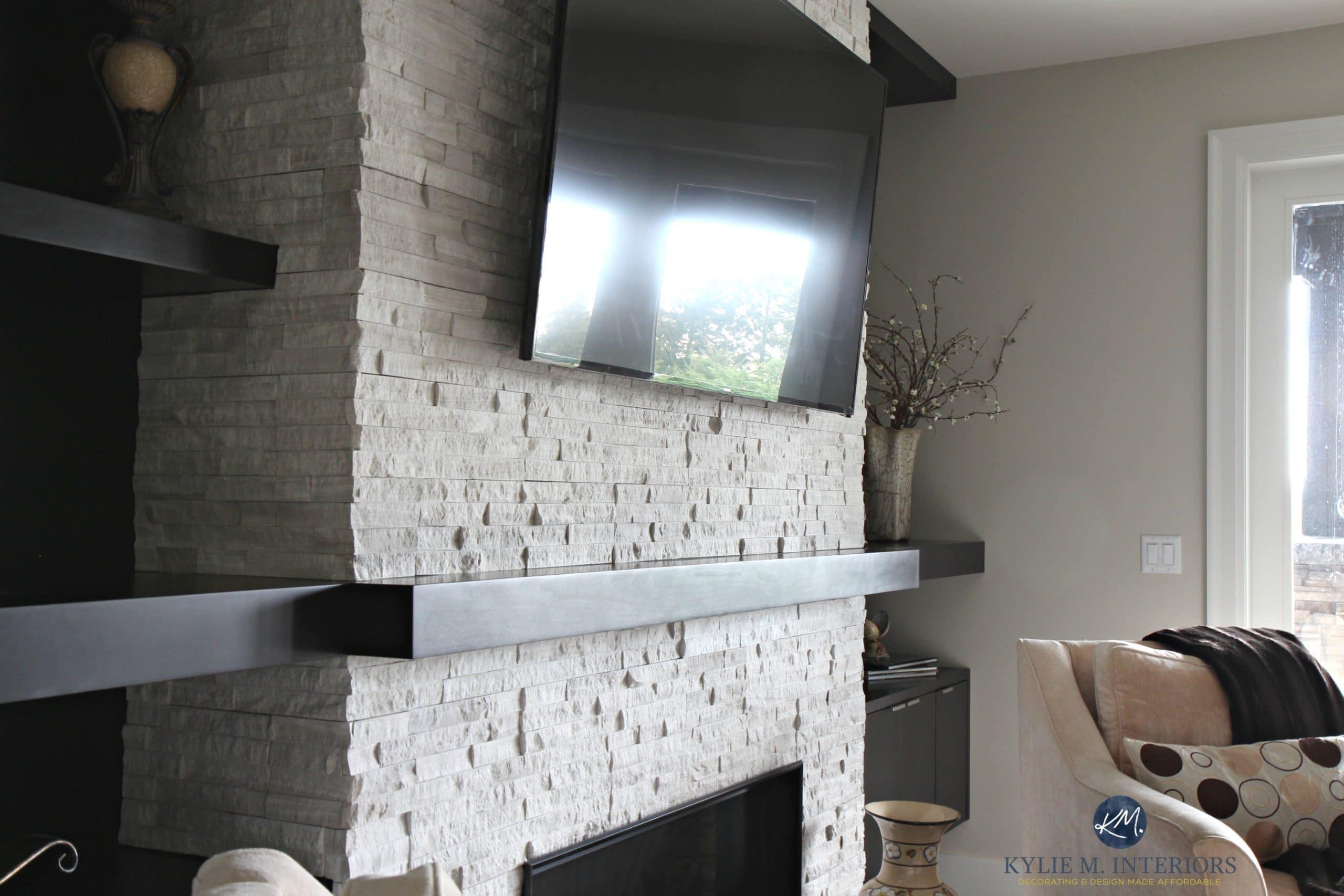 Contemporary Modern Fireplace With Ledgestone Tv Mantel
