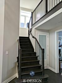 Benjamin Moore Collingwood in a staircase with dark wood ...