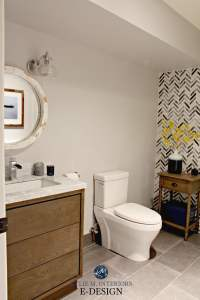 Ideas to add style to small bathroom. Herringbone marble
