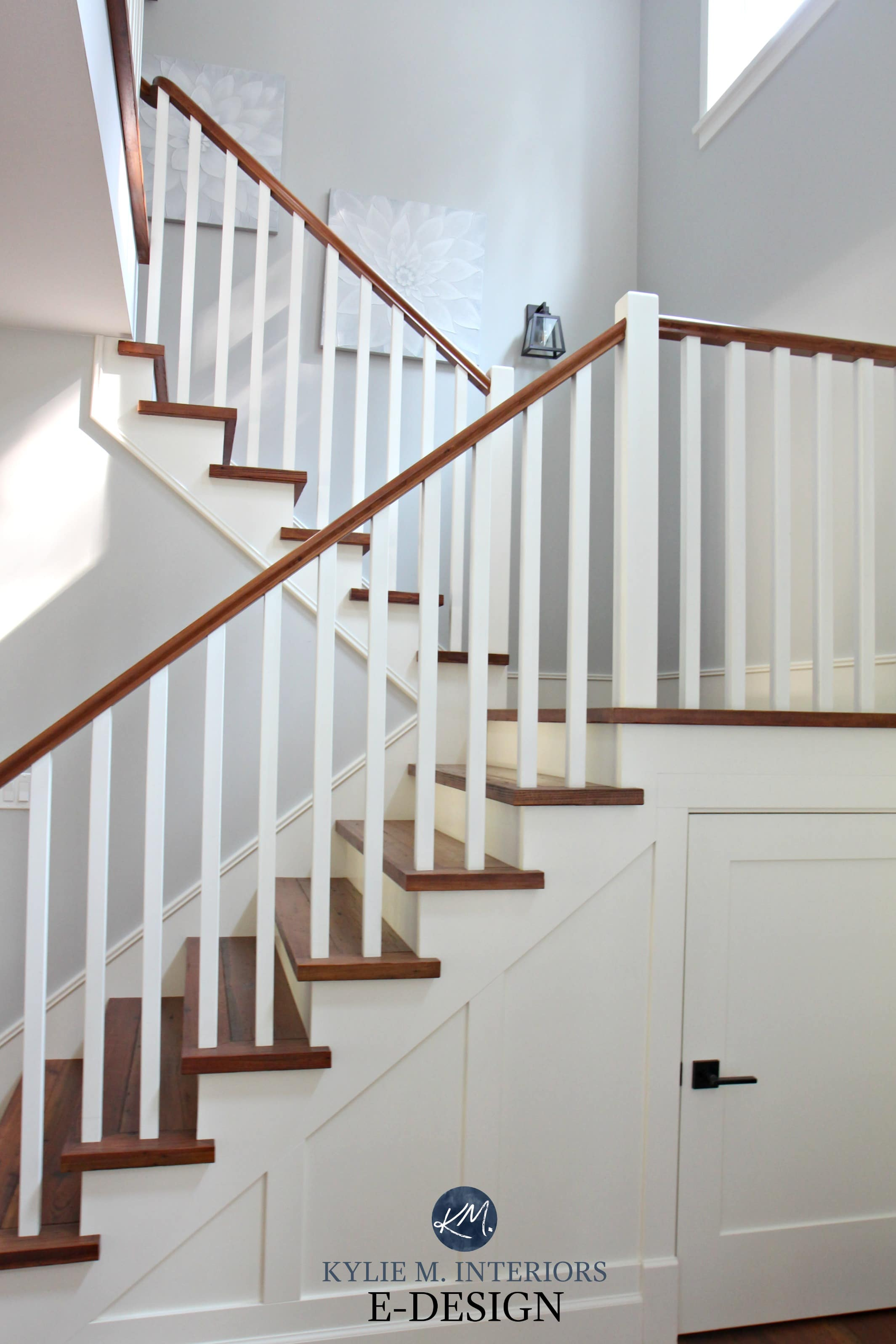 Staircase White Spindles And Wood Treads And Stair
